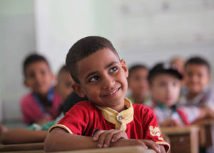 Education is a fundamental right for children all over the world. On 13 September 2015, UNRWA opened 99 schools to serve approximately 45,000 Palestine refugee children, including those in Husseiniyeh after their families returned to the area over the summer. Husseiniyeh © 2015 UNRWA Photo by Taghrid Mohammad