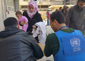 UNRWA is planning to begin distribution of winter blankets and establish mobile health points in the coming week. Yalda, 13 February, 2016.  ©2016 UNRWA Photo