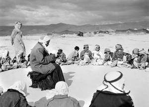 After the exodus, the first school classes were held in the open air in Jericho. © 1948 UNRWA Archive, Photographer Unknown