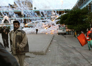Phosphorous bombs hit UNRWA premises in Beit Lahiya, Gaza. 2009. Courtesy of AFP