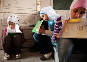 Education in emergencies in Jaramana camp, Syria. © 2013 UNRWA Photo by Carole Alfarah