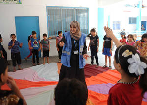 Psychosocial support, including psychosocial counselling and recreational activities, is a critical part of the UNRWA Education in Emergencies response.  © 2014 UNRWA Photo by Shareef Sarhan