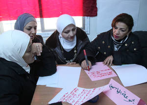 Within the EiE response, teachers and counsellors were trained on both psychosocial support and safety and security skills. In 2015, the Agency held a number of trainings in Jordan, Syria and Lebanon which focused on improving response in case of emergencies. In 2016, UNRWA intends to provide more training to reinforce its staff readiness for an unexpected crisis. Jdeydat Artouz, Rif Damascus, Syria. © 2016 UNRWA Photo by Taghrid Mohammad