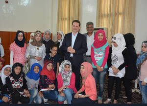 On 12 May 2016, the Commissioner-General met with Palestine students from Yarmouk who are now boarding at an UNRWA school in Damascus to prepare for their national exams. Palestine School, Alliance, Damascus. © 2016 UNRWA Photo by Taghrid Mohammad
