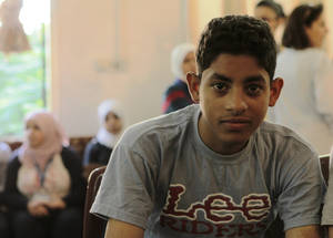 UNRWA is hosting 96 students from Yarmouk who were granted passage to attend preparatory classes for the Syria national ninth-grade exam. Students will be able to further their education only if they pass the exam. Palestine School, Alliance, Damascus. © 2016 UNRWA Photo by Taghrid Mohammad