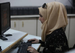 Isra'a is a 23-year-old who loves drawing and dreams of working for a design magazine one day. Through the computer animation and modelling course, Isra'a unleashes her imagination with the hopes of one day meeting her aspirations.Damascus Training Centre, Syria. © 2016 UNRWA Photo by Taghrid Mohammad