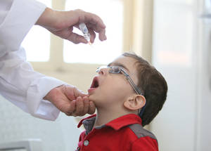 To protect children against childhood diseases, UNRWA immunized close to 16,000 children under the age of 5 against polio, measles, mumps, rubella and tuberculosis in the first three months of 2016. Alliance Health Centre, Alliance, Damascus, Syria, April 2016. © 2016 UNRWA Photo by Taghrid Mohammad