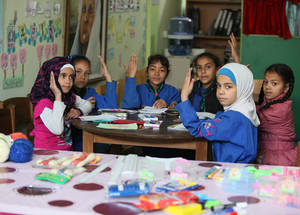 For children unable to attend classes regularly, UNRWA developed self-learning materials for mathematics, Arabic, science and English for grades 1 through 9. Khan Dunoun Camp, Rif Damascus, Syria, April 2016. © 2016 UNRWA Photo by Taghrid Mohammad