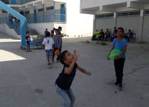 """My thanks go to my counsellor who helped me to enjoy school again,"" says Adham. ""I feel happy when I come to school and participate in the games and reading the stories the counsellor gave to me. School is the only place where we can enjoy playing, and my counsellor helped me to stay in school."" © 2016 UNRWA Photo by Riham Jafari"