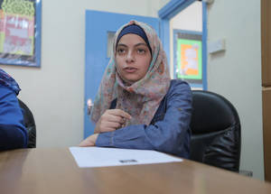 """There is only one gate to get inside and outside of the school. As a result, the second shift has to wait in the street for the first shift to leave the school,"" said Raneem Ali. ""Moreover, the school is located in a busy residential area. Sometimes we are subject to harassment when we enter or leave the school."" © 2016 UNRWA Photo by Ahmad al-Ameen"