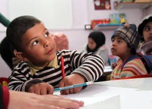 The UNRWA education programme also addresses the special needs of the 3,300 children affected by a disability or learning difficulties. The Agency provides rehabilitation classes to help them improve at their own pace. Khan Dunoun camp, Rif Damascus, Syria, February 2016 © 2016 UNRWA Photo by Taghrid Mohammad