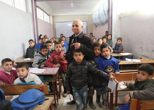 With infrastructure reduced by 60 per cent and about 70 per cent of students still enrolled compared to pre-conflict levels, many learning spaces have become overcrowded, further hindering UNRWA efforts to provide each and every child with quality education. Khan Dunoun camp, Rif Damascus, Syria February 2016 © 2016 UNRWA Photo by Taghrid Mohammad