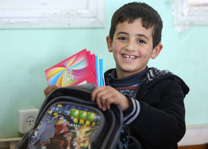Based on a shared commitment to Palestine refugees' human development, UNRWA and the United States seek to help children and youth gain appropriate knowledge and skills by providing universal primary education. © 2016 UNRWA Photo by Tamer Hamam.