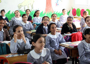 Since 2000, with support from the United States, UNRWA has been implementing the Human Rights, Conflict Resolution and Tolerance (HRCRT) Programme in its schools to promote an understanding of human rights, tolerance, good citzenship, communication skills, non-violence and peaceful conflict resolution. All UNRWA teachers in all five fields of operations have now been trained on methods of integrating these topics into their daily classes. © 2015 UNRWA Photo