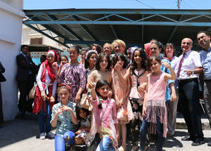 """[The school parliamentarians] talked about their school, their dreams, and their needs,"" said Ambassador Wells. ""Above all, they acted like true and devoted parliamentarians and asked for a new school which will create a suitable environment for learning. I heard them and a new school will be constructed. I am hopeful that the new school would be to their satisfaction and will contribute to improving their education.""  © 2016 UNRWA Photo by Viola E. Bruttomesso"