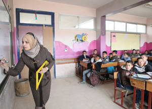 Despite the challenges related to the conflict, resulting in the closure of 67 schools, the teachers put relentless efforts in providing students with high-quality education. Khan Dunoun, Syria. © 2016 UNRWA Photo by Taghrid Mohammad