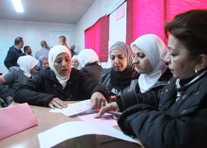 UNRWA aims to empower all teachers by offering them in-service training, maintaining and improving the quality of education provided to children in its schools. Upgrading teachers' professional qualifications helps them adapt to curriculum changes, improve their teaching methods and develop their educational and supervisory skills. Teacher Training, Jdaydet Artouz, Syria. © 2016 UNRWA Photo by Taghrid Mohammad