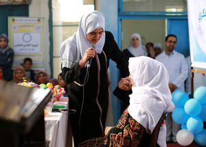 Students from Maen Preparatory School performed a sketch that included advice on eating habits and the necessity to conduct screening to detect diabetes in its early stages. © 2016 UNRWA Photo by Rushdi Al Sarraj