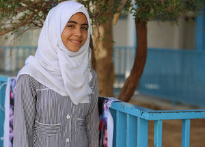 "Thirteen-year-old Abla al-Haj Ameed is a student in the eighth grade at Al-Zaytoun Preparatory Girls' School A in Gaza City. ""The human rights activities [reflect] what the children in Gaza in particular are lacking, such as our right to live in a safe environment and a stable situation without wars,"" she says. © 2016 UNRWA Photo by Tamer Hamam"