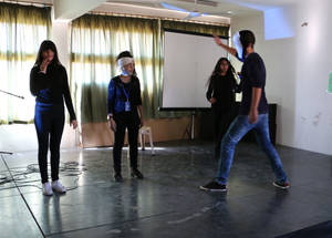 During Human Rights Day activities at Al-Jormok Secondary School in Bekaa, Lebanon, UNRWA students participate in dramatic performances to express their ideas on related themes. © 2016 UNRWA Photo by Firas Abo-Aloul