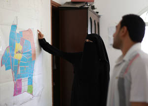 Fatima al-Adeli, a 28-year-old Palestine refugee, works as an architect in the municipality of Beit Hanoun in northern Gaza through the UNRWA Job Creation Programme. The ongoing blockade has resulted in one of the highest unemployment rates in the world. Under the 2017 Emergency Appeal, UNRWA will offer short-term Cash-for-Work opportunities and livelihood interventions, specifically targeting vulnerable groups, including women and youth. © 2016 UNRWA Photo by Rushdi Sarraj