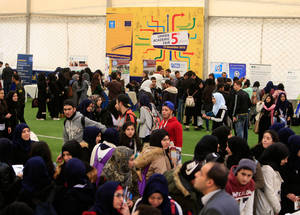 More than 650 Palestine refugee twelfth-grade students and 26 Lebanese and foreign universities, academic institutes and scholarship providers participated in the fifth annual Academic Fair in Lebanon. Hoops Club, Beirut. © 2016 UNRWA Photo by Ali Hashisho