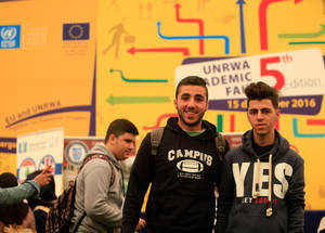 """It is very useful to us, as students, to get in touch with this amalgam of universities and scholarship providers under one fair. New knowledge paves the way to well-informed academic and career choices,"" said Malek Khatib, one of the Academic Fair's 650 participants. Hoops Club, Beirut. © 2016 UNRWA Photo by Ali Hashisho"