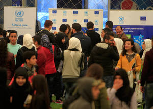 The UNRWA Academic Fair in Lebanon on 15 December was funded by the European Union's Neighbourhood and Partnership Instrument (ENPI), which provides education, training and employment support for young Palestine refugees in Lebanon. Hoops Club, Beirut. © 2016 UNRWA Photo by Ali Hashisho
