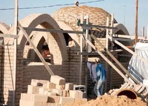 Mud brick houses in Gaza