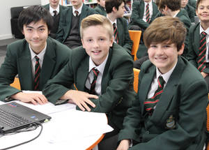 Students at the Devonport High School for Boys in Plymouth, UK, created a website for students to access information about their options after high school. They also asked for a meeting with their school's Leadership Group to discuss the teaching of citizenship and created Twitter accounts to share information about their projects. © 2016 UNRWA Photo by Riccardo Guido.