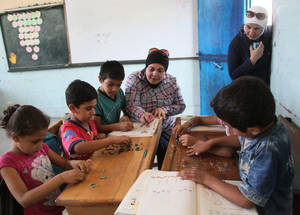 Recognizing the likely widespread negative psychosocial impact of the armed conflict on children and teachers, the Agency's EiE response emphasizes the provision of targeted psychosocial support. Alliance Palestine School, Damascus, Syria. © 2016 UNRWA Photo by Taghrid Mohammad