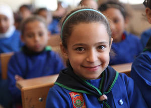 To empower young Palestine refugees in Syria, UNRWA provides them with quality education and livelihood opportunities through its Education Reform and Education in Emergencies programme.  At the beginning of the 2016/17 school year, UNRWA welcomed 44,597 children to its 101 schools. Khan Dunoun camp, Rif Damascus, Syria © 2017 UNRWA Photo by Taghrid Mohammad
