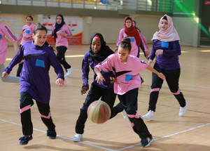 Students from Gaza and the West Bank during a basketball contest at the Gaza Sports Club. 18 July 2017. © 2017 UNRWA Photo by Fadi Thabet
