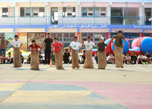 Students from Gaza and the West Bank compete during one of UNRWA Summer Fun Weeks activities in Gaza. During their busy schedule, the students and their supervisors had the chance to visit and actively interact with Gaza students in the different SFW locations. © 2017 UNRWA Photo by Fadi Thabet