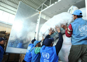 Last March, UNRWA participated in the second inter-agency convoy to Khan Eshieh camp in Syria since 2013. Thanks to contributions from donors like ECHO, the Agency managed to deliver 1,500 food parcels, 1,500 hygiene kits and 50 kg of medicine to the area. Syria Field Office, Damascus, Syria. © 2017 UNRWA Photo by Taghrid Mohammad