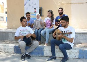 """We are helping children cope with extreme stress and engaging them in activities to nurture their healthy development,"" explains Ahmad. ""If the energy of young people is directed to constructive purposes, the whole country will enjoy peace."" Damascus Training Centre, Syria. © 2017 UNRWA Photo by Taghrid Mohammad"