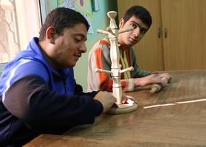 As part of the Agency's commitment toward Palestine refugee youth with disabilities, UNRWA offers carpentry workshops at the Community-Based Rehabilitation Centre in Amman New refugee camp in Jordan. © 2017 UNRWA photo by Viola Bruttomesso