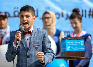 "President of UNRWA Student Parliament, 13-year-old Karim, also spoke at the event, saying: ""Today I wish to tell the world that our education is at risk. We are proud and determined students, we want the world to support us in becoming global citizens and pursue our dreams and aspirations."" © 2018 UNRWA Photo Rushdi Al Saraj"