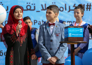 "Eslam, a member of UNRWA Student Parliament, called on students around the world to join the campaign: ""We are determined students and I call on students in Africa, Asia, Europe, Latin and North America, as well as in the Middle East to echo our appeals for support. Help keep UNRWA schools open!"" © 2018 UNRWA Photo Rushdi Al Saraj"