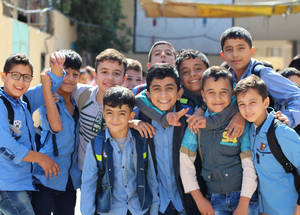 UNRWA provides an education to 47,000 children in Syria.  The  boys in this photograph attend the UNRWA Zahriyeh School, in Neirab refugee camp near Aleppo. © 2017 UNRWA Photo by Ahmad Abu Zeid