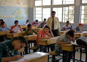 These students, of the recently reopened school in Sbeineh are studying hard for their exams. In 2017, ninth-grade students at UNRWA schools had an 80 per cent pass rate. UNRWA provides education from first to ninth-grade in the Syria field, making the Agency's passing rate excellent. © 2018 Photo by Fernande van Tets