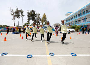 UNRWA engages children in recreational activities to help build their social and emotional skills and contribute to their psychosocial wellbeing and resilience. In 2017, arts and sports activities were held at 155 UNRWA elementary schools in Gaza. © 2017 UNRWA Photo by Rushdi Saraj.