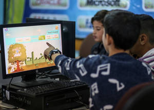 Through the EiE programme, UNRWA has developed the Online Interactive Learning Programme of educational games. The site provides tools aimed at developing literacy and numeracy skills (available at ilp.unrwa.org), for UNRWA students between grades 1-9in Jordan, Lebanon, Gaza, Syria and West Bank. ©2017 UNRWA Photo by Rushdi Sarraj.