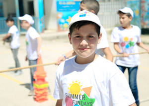 Palestine refugee children, like all children, deserve the right to play and thrive. EU Fun Days involve a wide range of creative games and activities with a single aim- to get all UNRWA students smiling and enjoying themselves. © 2018 UNRWA Photo by Iyas Abu Rahma