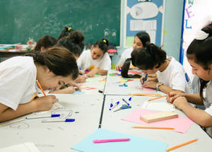 """It is great to leave the house during summer holiday and have some fun participating in the summer camp,"" said one UNRWA student. ""We make new friends from other classes and strengthen our relationships with our classmates. We participated in several activities, including sports, tug of war and other games too. We also took part in cultural activities and mathematics."" © 2018 UNRWA Photo by Iyas Abu Rahma"