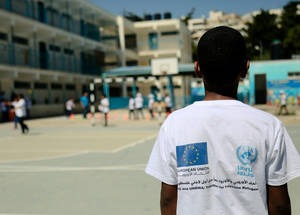 Through Fun Day activities in the summer and throughout the school year, students learn more about the history, geography and culture of the European Union and its member states. © 2018 UNRWA Photo by Iyas Abu Rahma