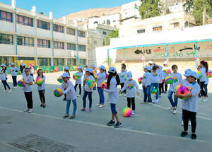 EU Fun Days give UNRWA students an opportunity to enjoy the wonders of being a child, like the students of the Balata Girls' School pictured here. © 2018 UNRWA Photo by Iyas Abu Rahma