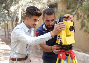 The assistant engineer course provides trainees with skills to assist with tests and inspections, as well as preparing reports and calculations. © 2017 UNRWA Photo by Taghrid Mohammad