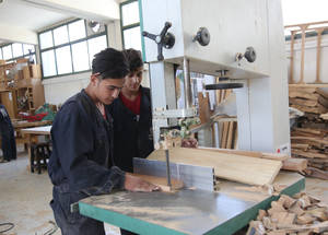 The wood and furniture course prepares graduates to enter the furniture industry and teaches students how to craft pieces of furniture from scratch.   © 2017 UNRWA Photo by Taghrid Mohammad