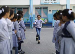 """These activities gave me the chance to play different sports and recreational activities with my friends! I really enjoy myself, there's such a positive energy at school. I hope these activities continue into the summer as well,"" says 9 year-old Reemas Al-Bayedh, a fourth grade student at the UNRWA Al-Zaytoun Basic Girls' School.  © 2019 UNRWA Photo by Mohammed Hinnawi"